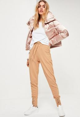 Nude Lace Up Front Cuffed Joggers