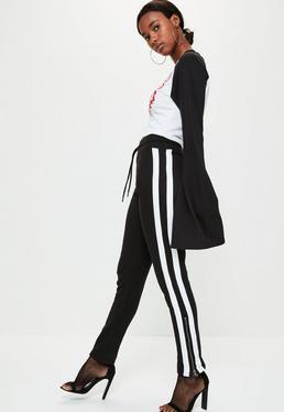 Black Side Stripe Zip Side Joggers