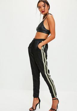 Black Satin Sage Side Stripe Joggers
