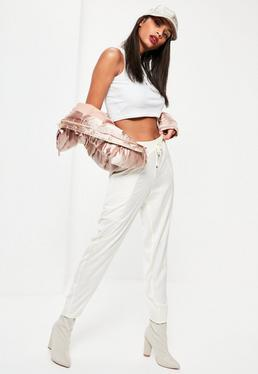 White Satin Drape Pocket Tapered Joggers