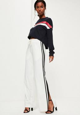 White Wide Leg Zip Hem Side Stripe Joggers