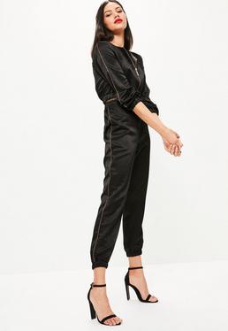 Jogging en satin noir couture contrastante