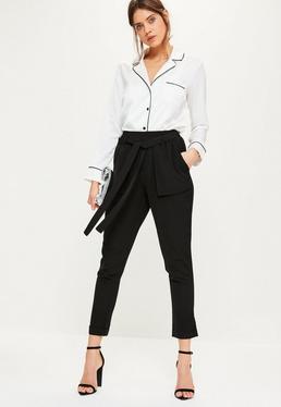 Black Utility Pocket Tie Cigarette Trousers