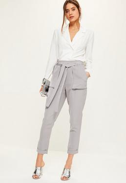 Grey Utility Pocket Tie Cigarette Trousers