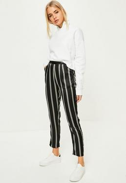 Black Striped Satin Cigarette Trousers