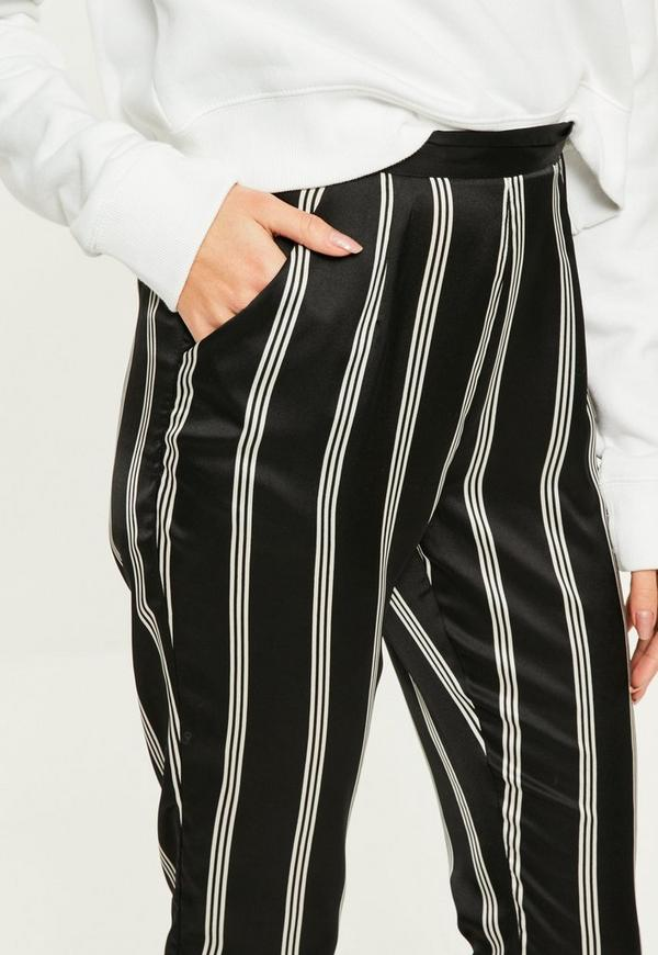 Black Striped Satin Cigarette Pants Missguided