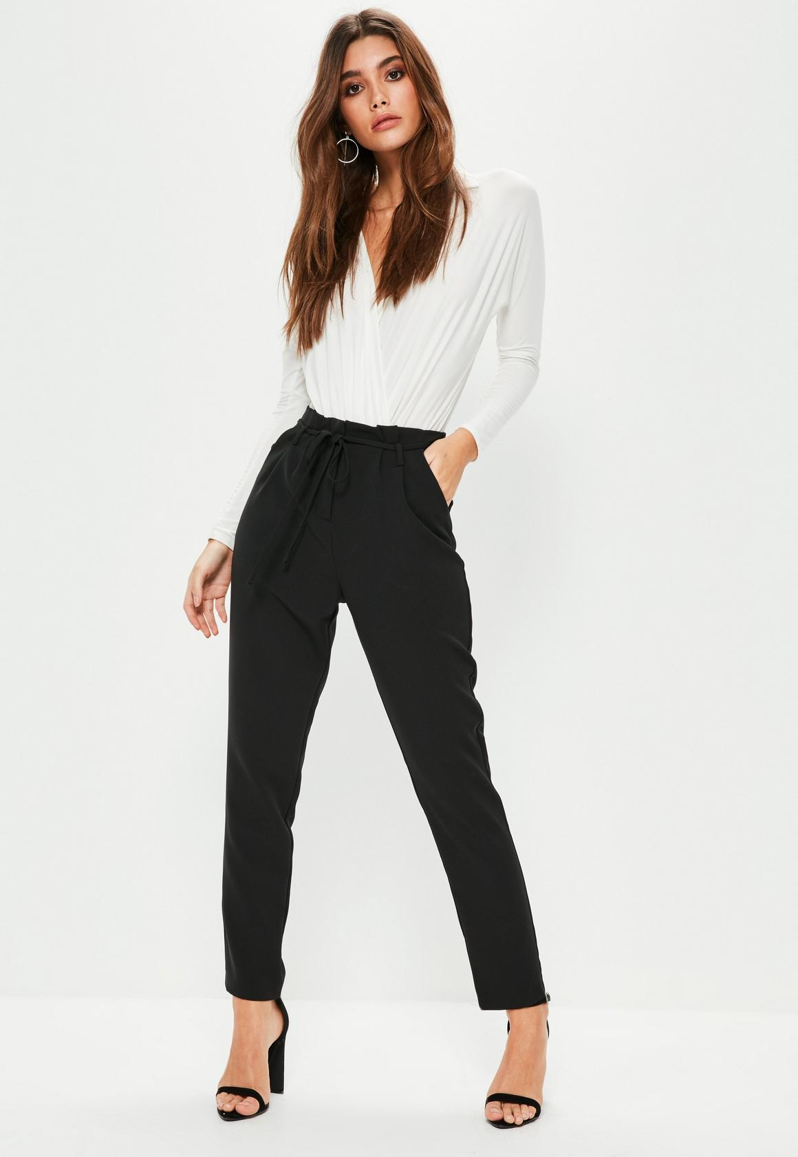 Paper bag trousers - Black Paperbag Waist Tie Detail Cigarette Trousers Previous Next