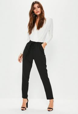 Black Paperbag Waist Tie Detail Cigarette Trousers