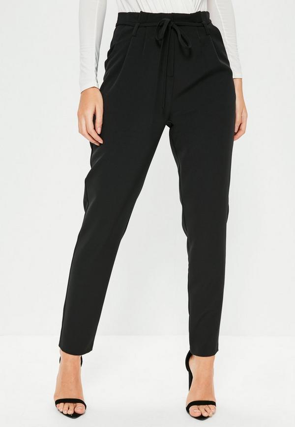 Black Paperbag Waist Tie Detail Cigarette Pants Missguided