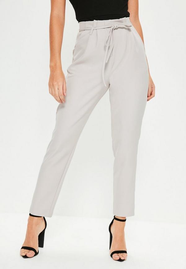 Grey Paperbag Waist Tie Detail Cigarette Pants Missguided