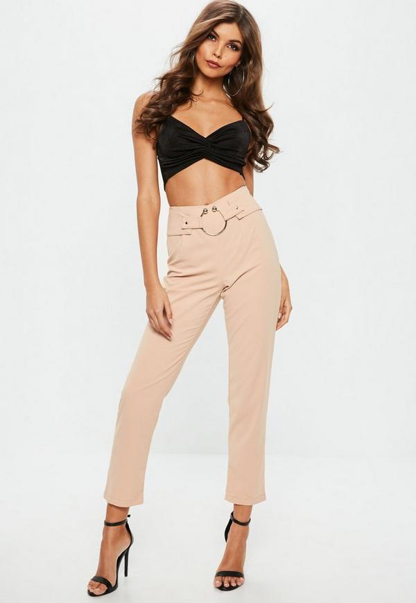 Nude Ring Detail Waist Cigarette Trousers