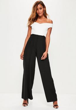Black Pleated Waist Wide Leg Trousers