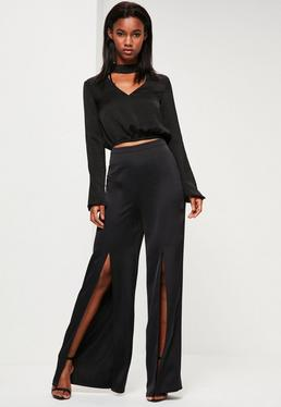 Black Satin Split Front Wide Leg Trousers