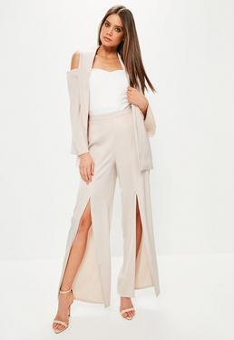 Pink Satin Split Front Wide Leg Trousers