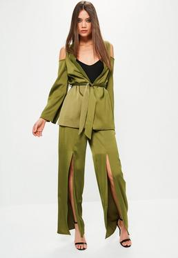 Khaki Satin Split Front Wide Leg Trousers