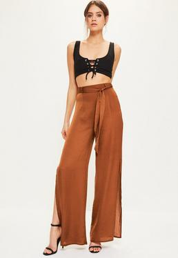Brown Tie Waist Wide Leg Split Side Trousers