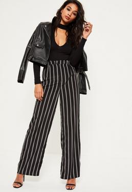 Black Satin Stripe Wide Leg Trousers