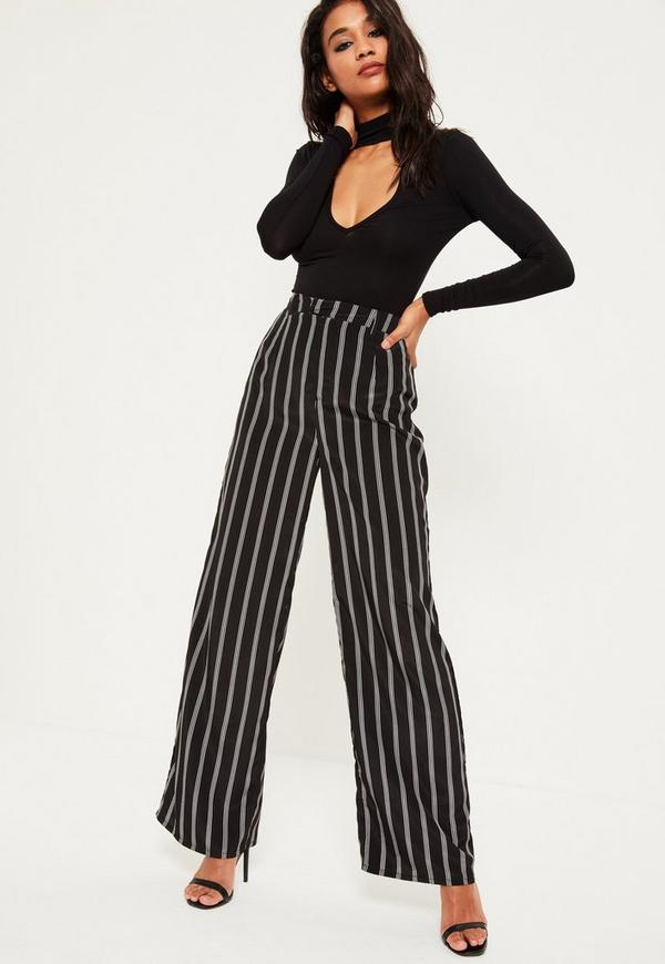 Black Satin Stripe Wide Leg Pants   Missguided