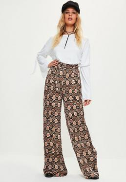 Brown Snake Print Tie Waist Wide Leg Trousers