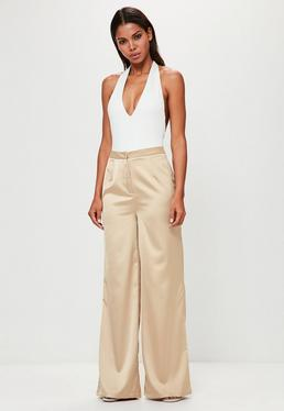 Peace + Love Nude Satin Wide Leg Trousers