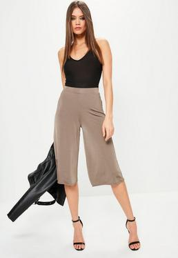 Brown Slinky Wide Leg Culottes