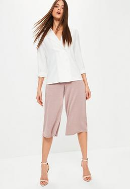 Pink Metallic Textured Wide Leg Culottes