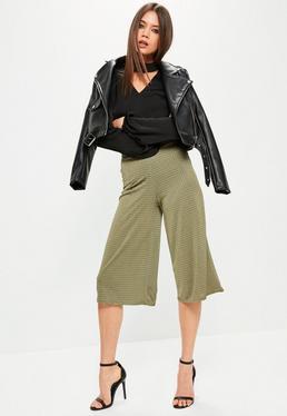 Khaki Metallic Textured Wide Leg Culottes