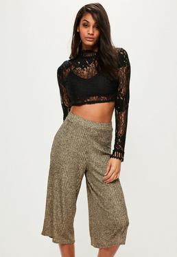 Gold Knitted Wide Leg Ribbed Culottes
