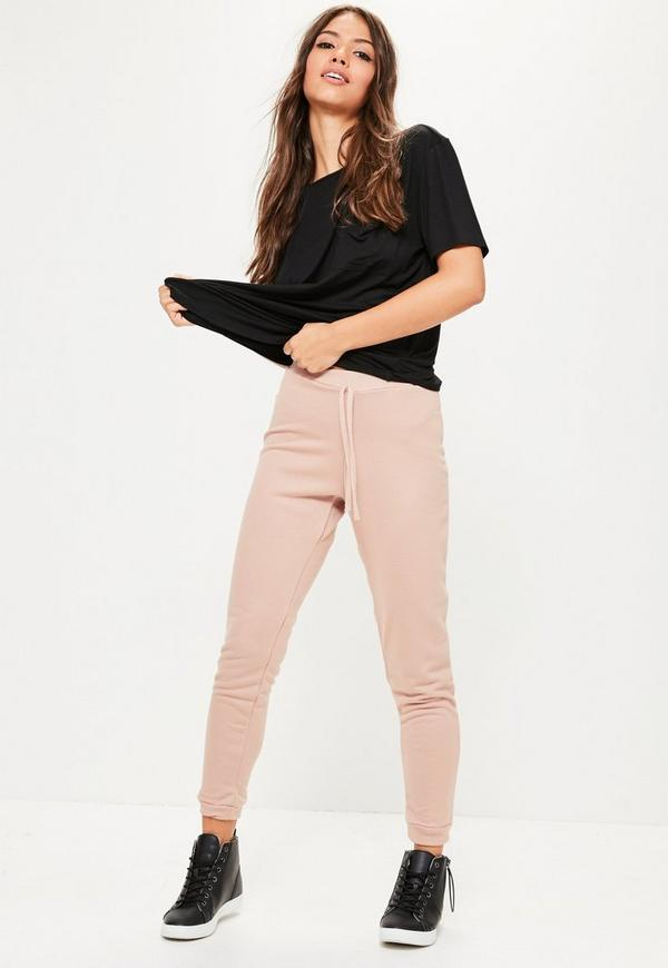 Pink Loopback Tie Waist Joggers
