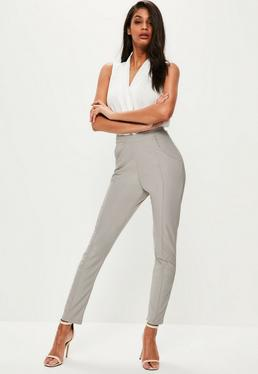 Grey Pintuck Front Cigarette Pants