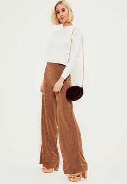 Brown Slinky Wide Leg Pants