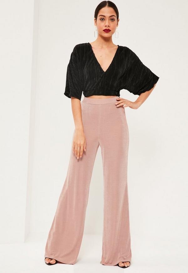 Pink Slinky Wide Leg Trousers