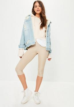 Nude Metallic Ribbed Cropped Leggings