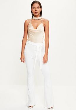 Pantalones de Campana con Cordón en la Cintura en Blanco