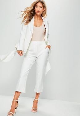 White Crepe Cropped Kick Flare Trousers