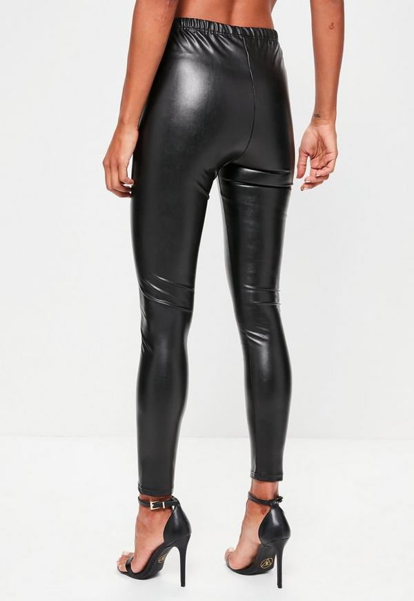 Black Faux Leather Leggings - Missguided