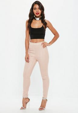 Nude Faux Suede Stitch Detail Leggings