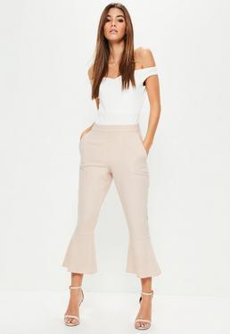Różowe spodnie Culotte z falbankami na nogawkach