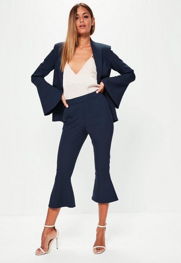 Navy Frill Hem Suit Culotte Trousers