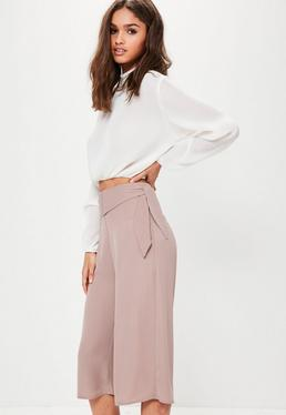 Purple Double Bow Tie Waist Chiffon Culottes