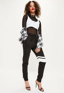 Black Contrast Thigh Stripe Detail Joggers