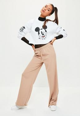 Brązowe spodnie dresowe joggersy z szerokimi nogawkami