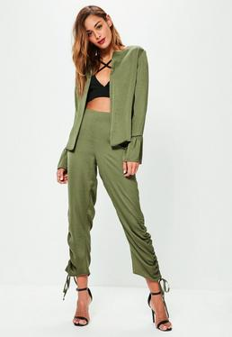 Khaki Hammered Satin Ruched Cigarette Trousers