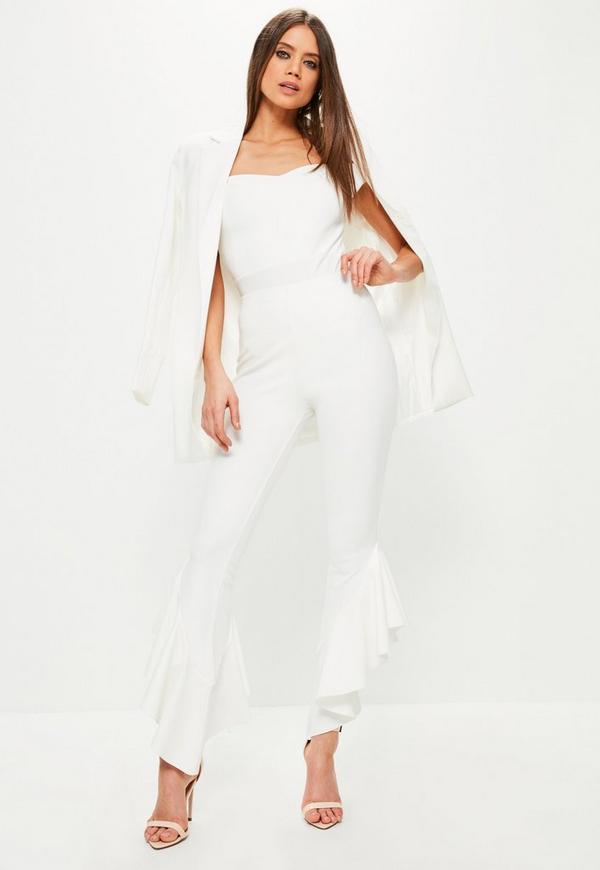White Asymmetric Frill Side Cigarette Trousers
