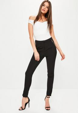 Black Ring Zip Detail Cigarette Trousers