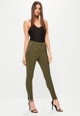 Khaki Ring Zip Detail Cigarette Trousers
