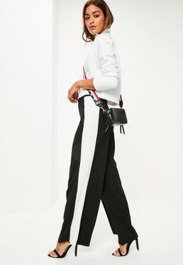 Black Stretch Crepe Stripe Wide Leg Trousers
