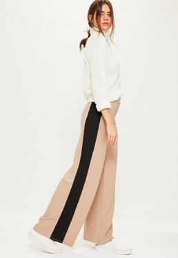 Nude Stretch Crepe Wide Leg Trousers