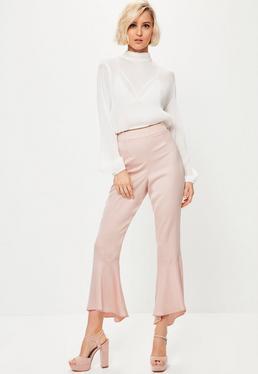 Pantalón Premium con Dobladillo de Volantes en Satén Rosa