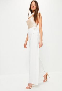 Pantalon large blanc noué à la taille